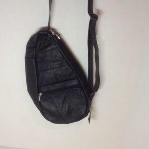 Handbags - Black leather mini sling/backpack